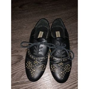 Leather studded flats